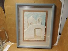 Figi Graphics Framed Hand Cast 3D Paper Art, Pueblo Church Scene/Wess (Used/EUC)