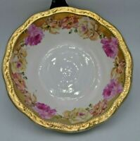 """Antique Three Crown China Germany Round Bowl Gold and Floral 9"""""""