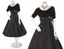 1950s Black Taffeta Full Skirt Ruched Formal Cocktail Dress by Reich Original