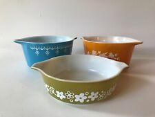 Set Of 3 Vintage Pyrex Corning Casserol Dishes