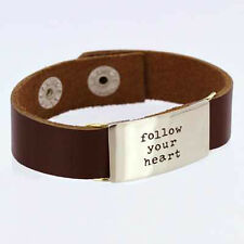 Leather Quote Bracelet FOLLOW YOUR HEART Brown Word Band Inspirational Jewelry