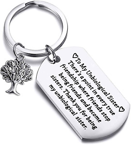 Unbiological Sister Gifts Thank You For Being My Unbiological Sister Keychain