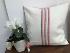 Ian Mankin Grain Stripe cushion cover with red piping stripe reverse 32x32cm