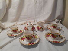 """""""Cottage Rose"""" Fine Bond China Shabby Chic Design, White w/ Red & Yellow Roses"""