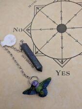 Lapis Lazuli Crystal Pendulum Dowsing Chakra Healing .925 Silver Hummingbird