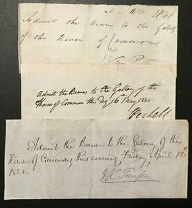1848 HOUSE OF COMMONS, 1850. Three handwritten permits for entry. One Irish