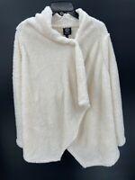 Bobeau Snap Front Fuzzy Wrap Sweater Womens Size S Small White