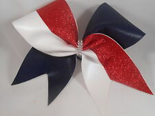 Cheer Bow Navy Mystique Red Cracked Ice GLITTER white by BlingItOnCheerBowz