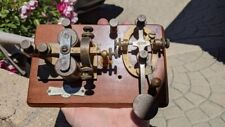 c1890's J.H. BUNNELL TELEGRAPH SOUNDER & KEY ON WOODEN BASE MORSE CODE VERY NICE