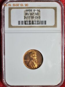1939 D Lincoln Cent - NGC MS 67 RD - Beautiful !