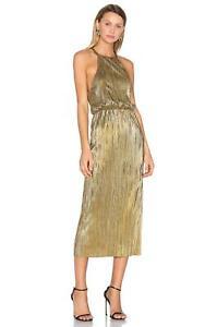HOUSE OF HARLOW x Revolve 1960 Metallic Gold FARRAH Micro-Pleated Midi Dress XS
