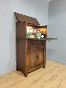Vintage Oak Drinks Cocktail Cabinet Full Of Old Charm Linen Fold