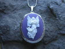 GUARDIAN ANGEL ON PURPLE CAMEO SILVER PLATED LOCKET - RELIGIOUS - EASTER - XMAS