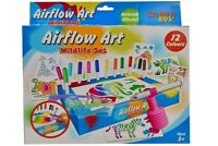 Wildlife Airflow Blow Pens Childrens Kids Art Colour Felt Tip Set Animal Stencil