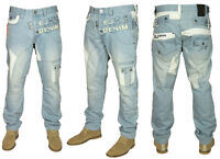 Mens New ETO Latest Tapered Fit Jeans in Light Blue Washed Colour