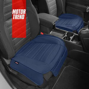 Motor Trend Blue Universal Car Front Seat Cushions Faux Leather Auto Truck Van
