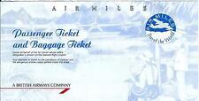 Airline Ticket - British Airways Air Miles 2 Flight Format c1994 - Taller (T377)