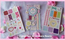 3 planches de stickers adhésifs fleuris/scrapbooking/embellissement/ornement
