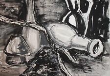 VINTAGE MODERNIST INK/PASTELS PAINTING STILL LIFE
