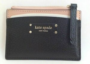 NWT KATE SPADE SMALL ZIP CARD HOLDER JEANNE VELLUM / BLACK $ 59.99