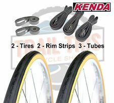 "2-Pack Kenda K35 Gumwall 27x1-1/4"" Road Bike Tires + 3 Schrader Tubes + 2 Strips"
