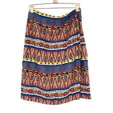 Size 8 Breeches Vintage Bohemian Tribal Cultural Zip Up Skirt Multicolor C016
