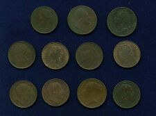 "ENGLAND ""FARTHING"" COINS: 1835, 1865, 1822, 1853, 1881, 1885, 1894, 1885, 1903,"
