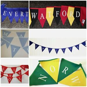 Football bunting with your favourite team name printed on team colours
