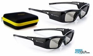 2x Hi-SHOCK DLP 7G Black Diamond   DLP Link 3D Brille Benq TK800, TK800M, TW533