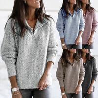Women Winter Warm Jumper Coat Fleece Sweater Ladies Casual Hoodie Pullover Tops