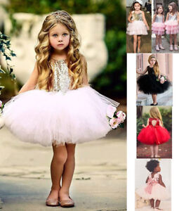 Toddler Baby Girl Princess Bow Sequin Tulle Tutu Party Wedding Dress Pageant New