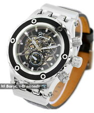 mens steel automatic skeleton watch business clubbing self winding leather