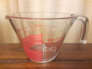 Vintage Pyrex 2 Cup Inside Read Red Clear Glass Measuring Cup Made In USA