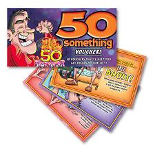 50 Something Vouchers For Him 50th Birthday Joke Gag Gift 10 Funny Coupons