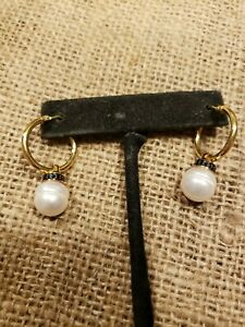 "Honora Bronze Hoop Earrings 10.1mm Pearls And Black Spinel they measure 1.25"""