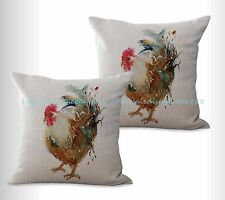 US SELLER, 2pcs decorative pillow farmhouse animal rooster chicken cushion cover