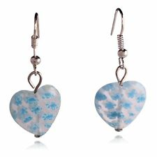 Clear Blue Glass Flower Mosaic Heart Dangle Earrings