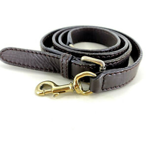 GUCCI All Leather Brown & Gold Detachable Bag Replacement Strap Made in Italy