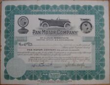1918 Car Stock Certificate: Pan Motor Co.-St. Cloud, MN