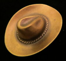 Cowboy Hat Western Pin Antiqued Brass Horse Equestrian