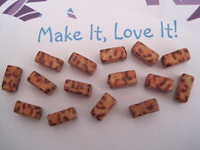 15 x LEOPARD PRINT ANIMAL WOODEN RECTANGLE SPACER BEADS 11MM X 5MM ETHNIC RUSTIC