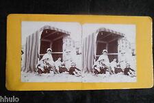 STB055 scène de plage tente kiosque vintage ancien photo STEREO amateur