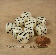 NEW 10 Ivory 12mm ROUNDED EDGE RPG Game Dice Set D6 Chessex