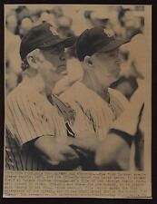 Original 1989 Joe DiMaggio & Mickey Mantle New York Yankees Paper Wire Photo