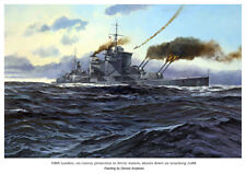 Battle of the Atlantic naval prints set: Bismarck, U-boats and RN warships