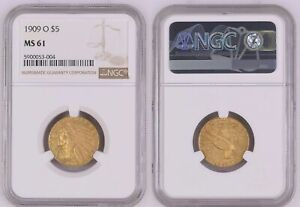GOLD USA 5 Dollars 1909 O New Orleans NGC-Holder grade MS 61 scarce nsw-leipzig