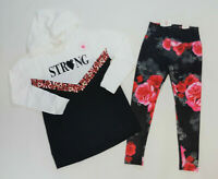 NWT Justice Kids Girls Size 8 Strong Sequin Hoodie Top & Red Flower Leggings
