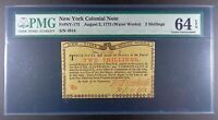 1775 New York Water Works 2s Colonial Note, NY-173, PMG ChU-64 EPQ.