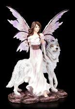 Elfen Figur - Alari mit ihrem Wolf - Fee Fantasy Deko Begleiter Fairy