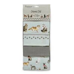 Set of 3 Tea Towels Curious Cats Design by Cooksmart